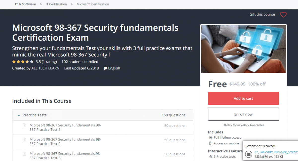 Microsoft 98-367 Security fundamentals Certification Exam - Udemy Coupon